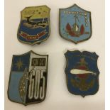 4 Vietnam War Era shield shaped beer can badges with painted design fronts.