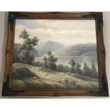 A framed oil on canvas of landscape scene depicting horned sheep to foreground by P. Wilson.