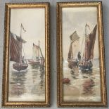 A pair of unsigned late 19th Century watercolours of Wherry boats.