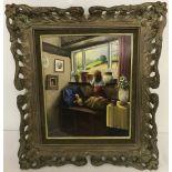 """Peter Kotka signed original oil on panel entitled """"A Girl at a Window"""" in ornate gilt frame."""