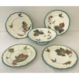 """A Victorian Powell & Bishop """"Trentham"""" pattern footed cake stand together with 4 matching plates."""
