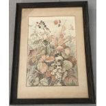 Mary Richardson, Norfolk artist, signed original watercolour of an Autumnal hedgerow.