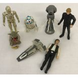 A small collection of Star Wars 70's, 80's and 90's figures and vehicle.