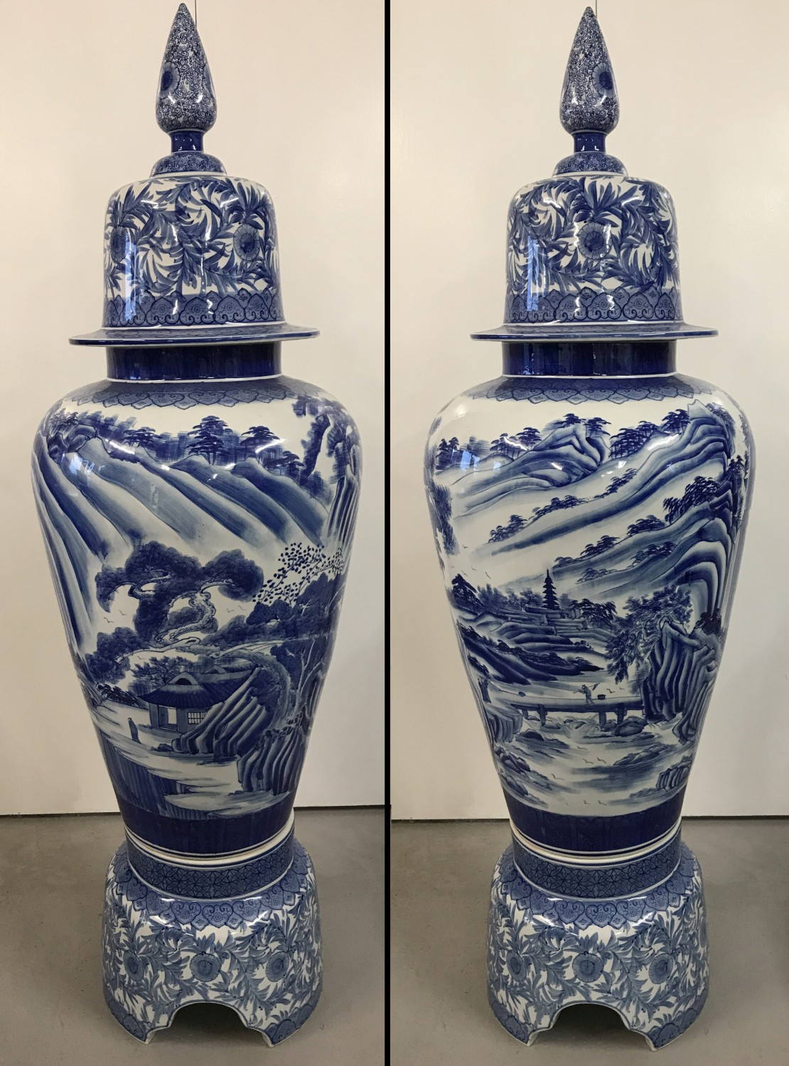 Lot 71 - A very large Chinese blue and white ceramic lidded urn on a seperate pedestal base.