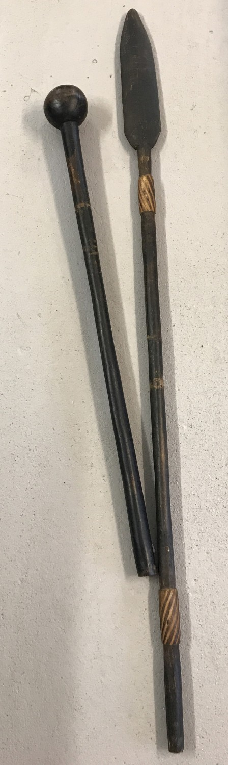 Lot 113 - 2 vintage wooden African weapons. A decorative wooden headed Assegai together with a Knobkerrie.