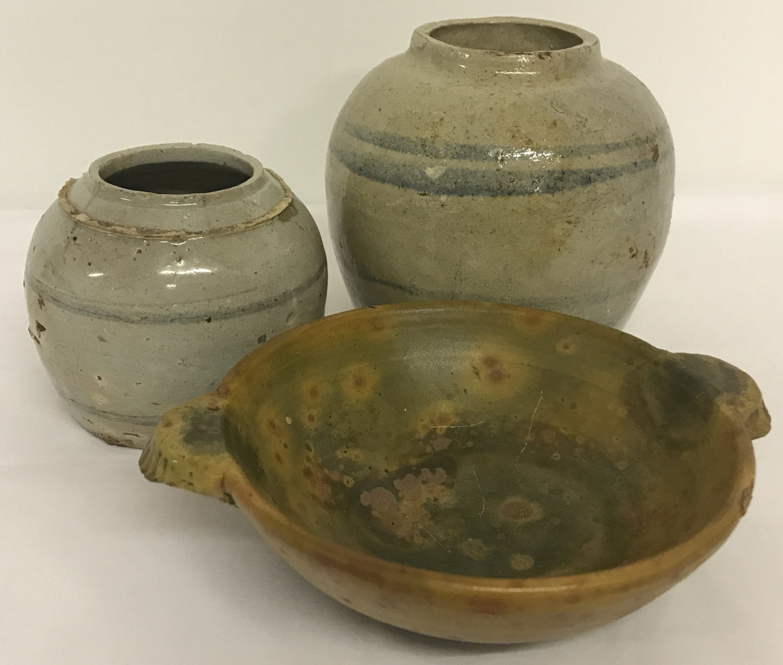Lot 50 - 3 pieces of eastern stoneware ceramics.