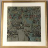 Lot 160 - A framed and glazed Taiwanese quilted silk panel with embroidered detail.
