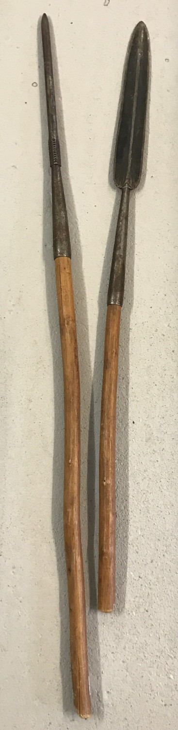 Lot 112 - 2 African short handled pole weapons. A Zulu Assegai together with an Iklwa.
