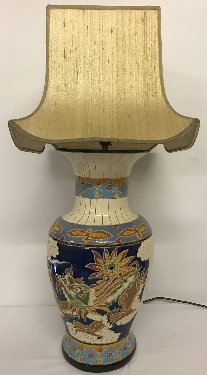 Lot 83 - A large Chinese ceramic urn shaped table lamp with colourful dragon panel design.