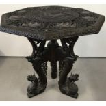 A late 19th century/early 20th century finely carved Burmese hardwood occasional table.