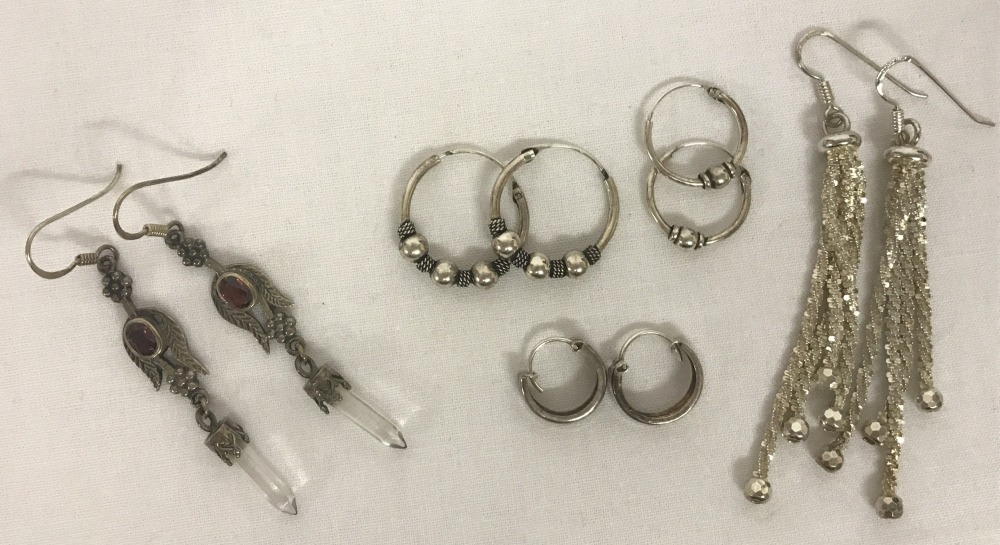 Lot 78 - 5 pairs of silver and white metal earrings.