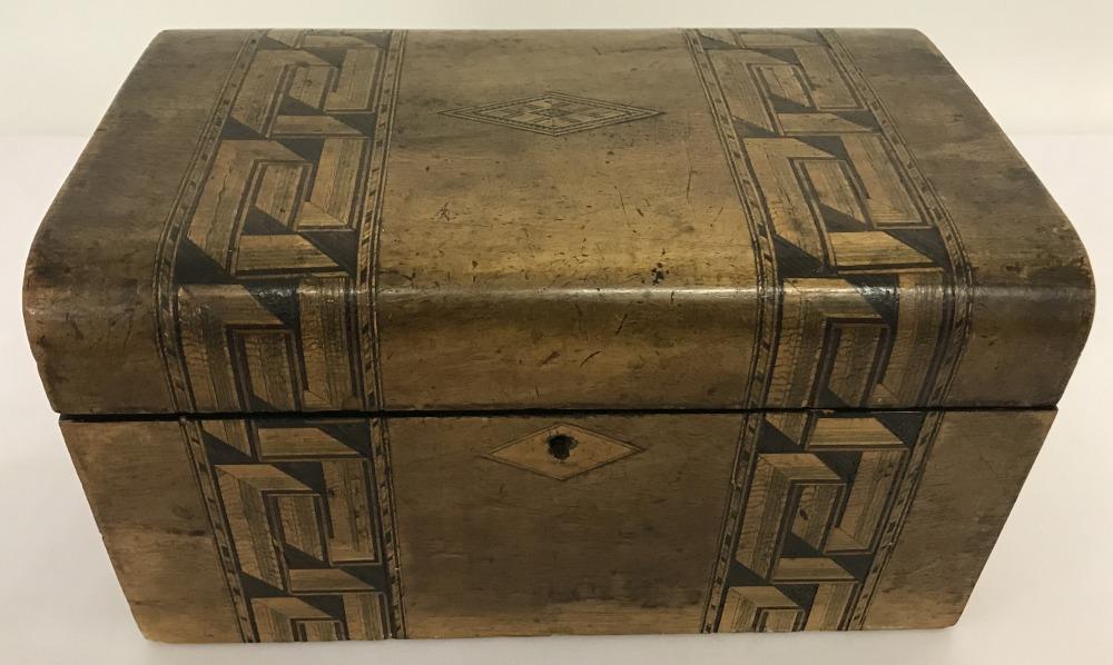 Lot 215 - A late 19c Tunbridge ware sewing box with key.