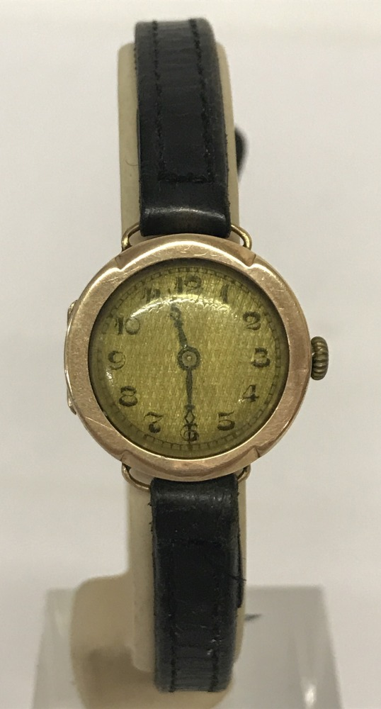 Lot 129 - A 1930's 9ct gold cased ladies wristwatch by Tavannes, on original leather strap.