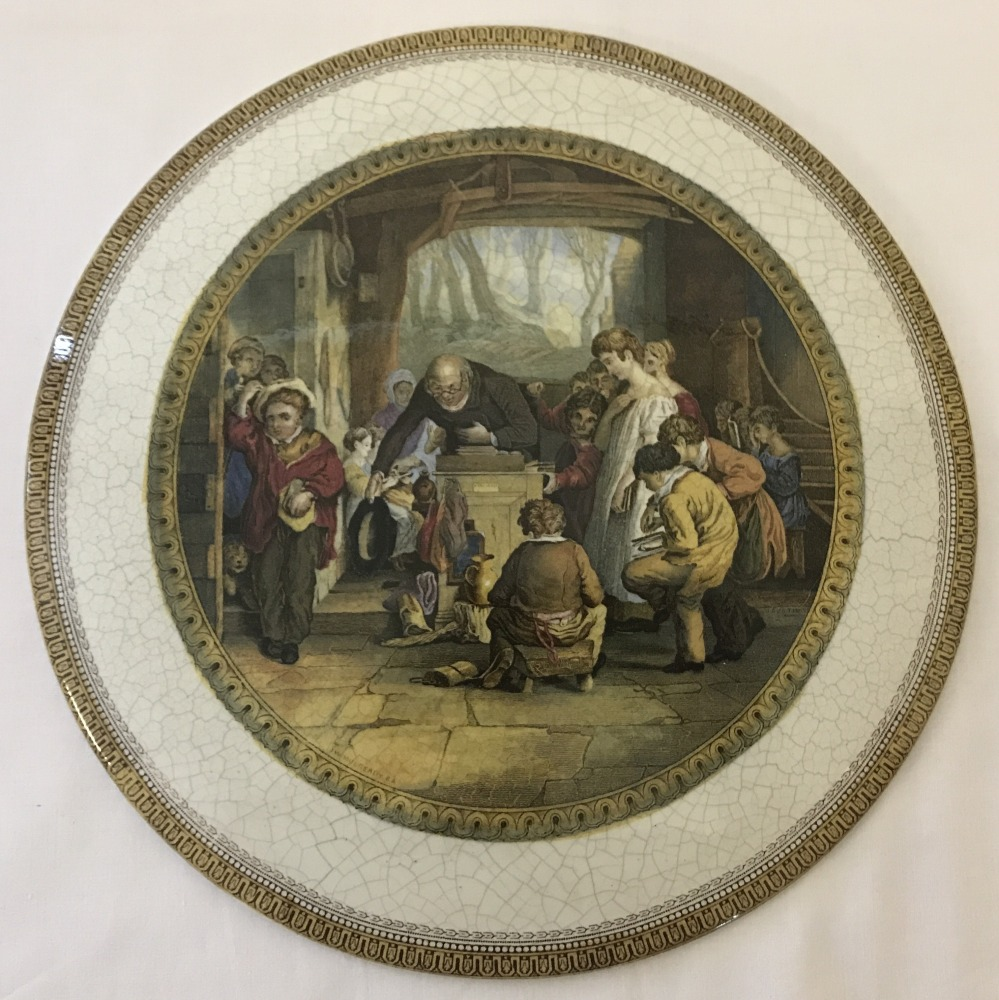 """Lot 191 - A large Pratt ware ceramic plaque """"The Last In"""" by W Mutready.R.A."""