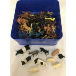 A tub of vintage plastic Cowboys and Indians, to include Marx Toys.