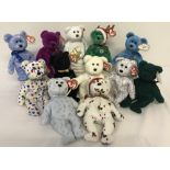 A collection of 12 TY Beanie Baby Bears. All with original tags.