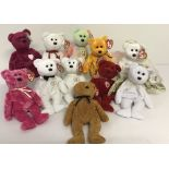 A collection of 11 TY Beanie Baby Bears. All with original tags.