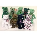 A collection of 9 English, Irish and Scottish TY Beanie Bears.