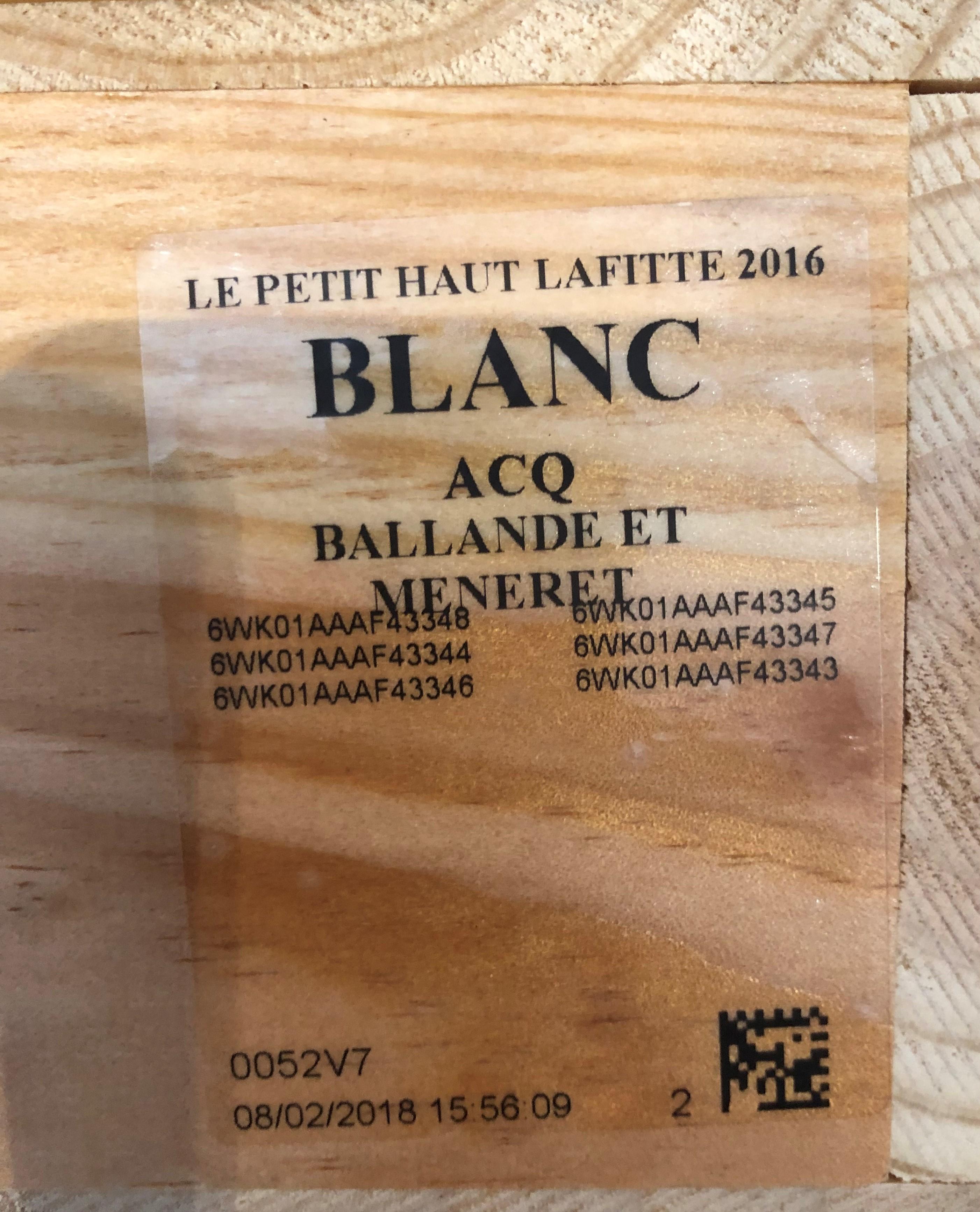 Lot 37 - 2016 Petit Haut Lafitte Blanc, Smith Haut Lafitte, Pessac, Bordeaux, France, 12 bottles