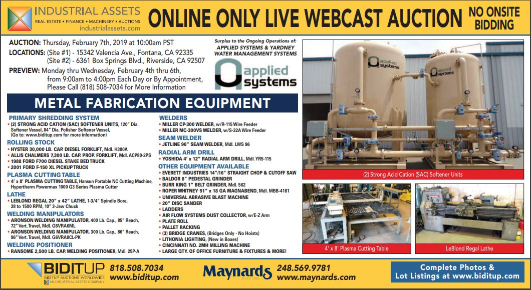 Lot 0 - METAL FABRICATION EQUIPMENT SURPLUS TO THE ONGOING OPERATIONS OF APPLIED SYSTEM