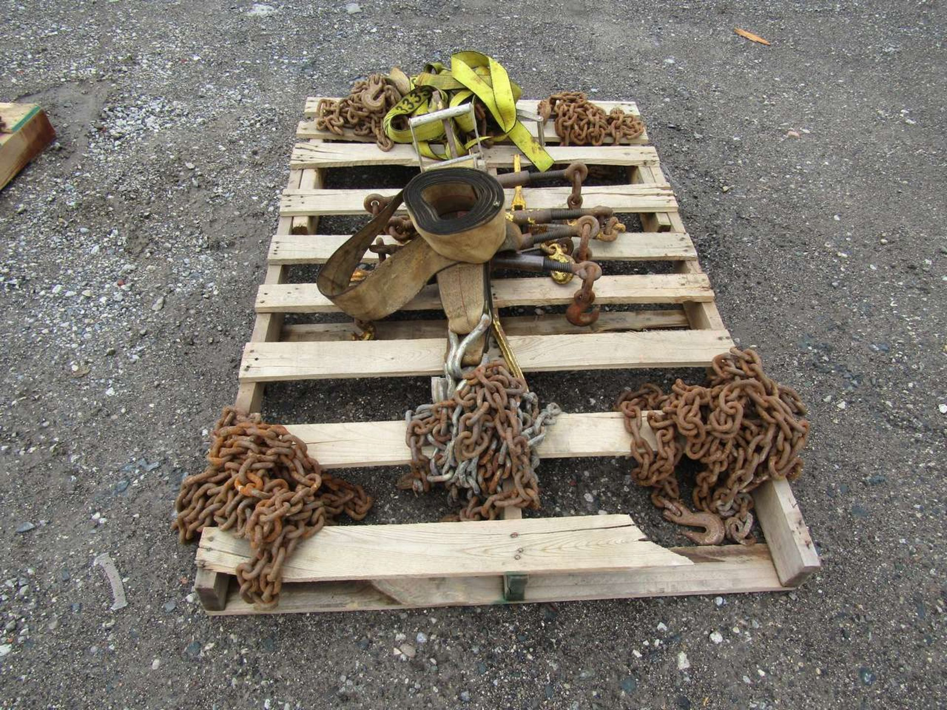 Lot 631O - Skid of Clamps and Chains For Trailers