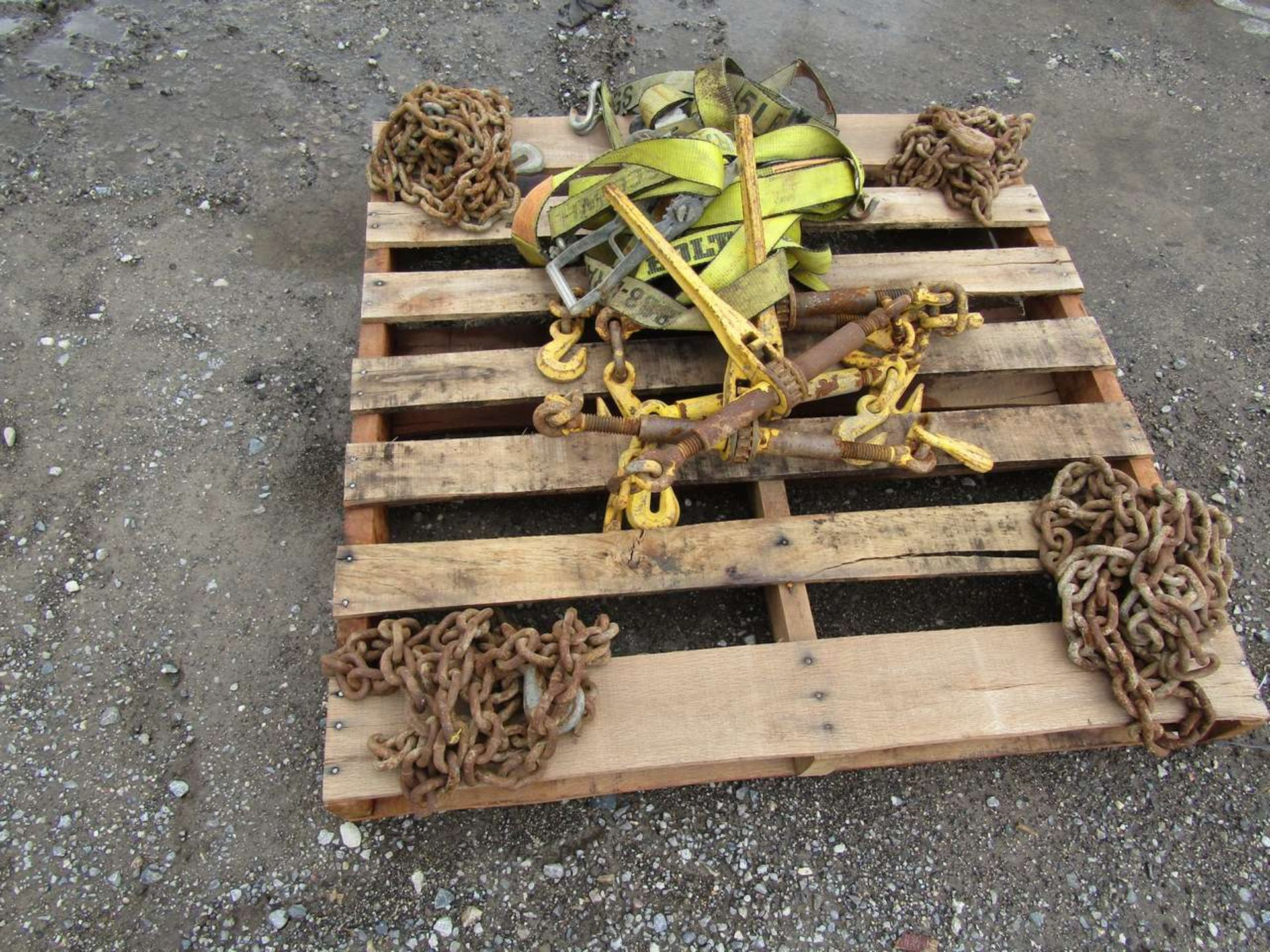 Lot 631M - Skid of Clamps and Chains For Trailers