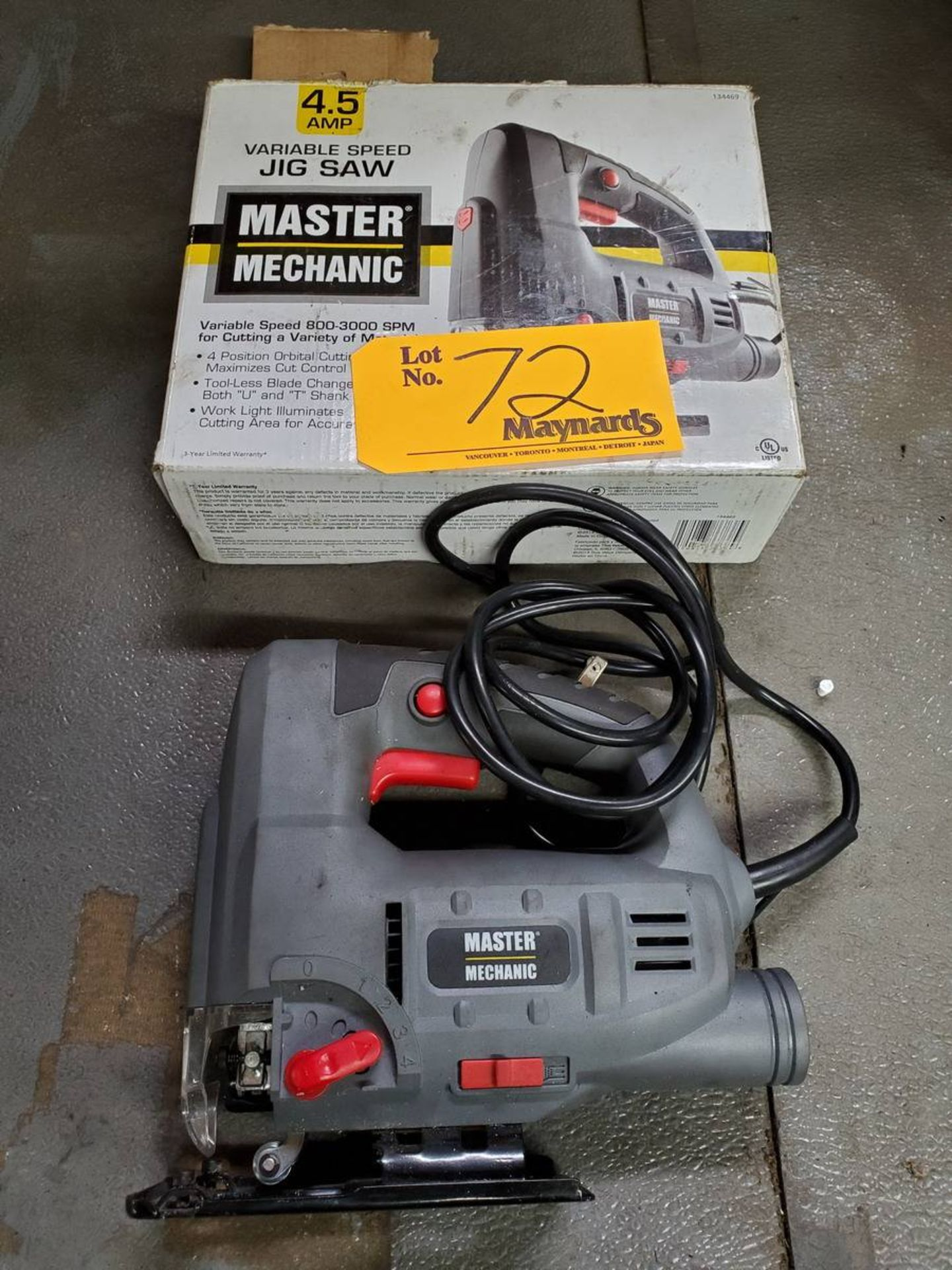 Lot 72 - Master Mechanic Variable Speed Jig Saw