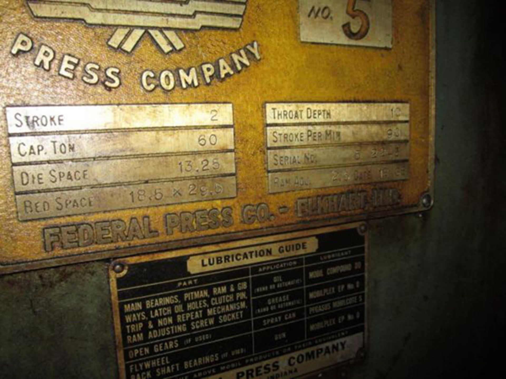 "Federal OBI Punch Press   60-Ton x 29 1/2"" x 18 1/2"", Mdl: F-5, S/N: 125400 - 6397P - Image 6 of 6"