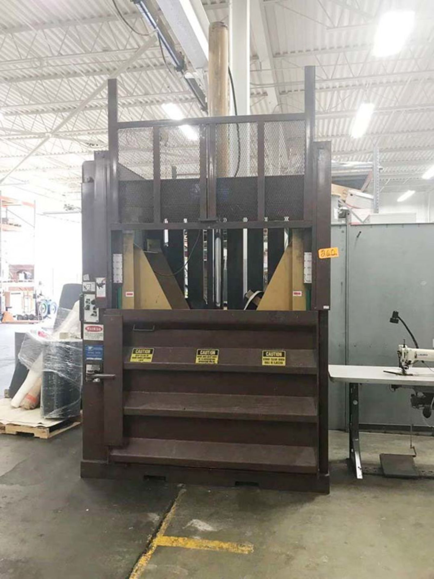 "Lot 6 - SP Industries Hydraulic Vertical Baler | 60"" x 30"" x 48"", Mdl: VB60E, S/N: 95060646 - 8758P"