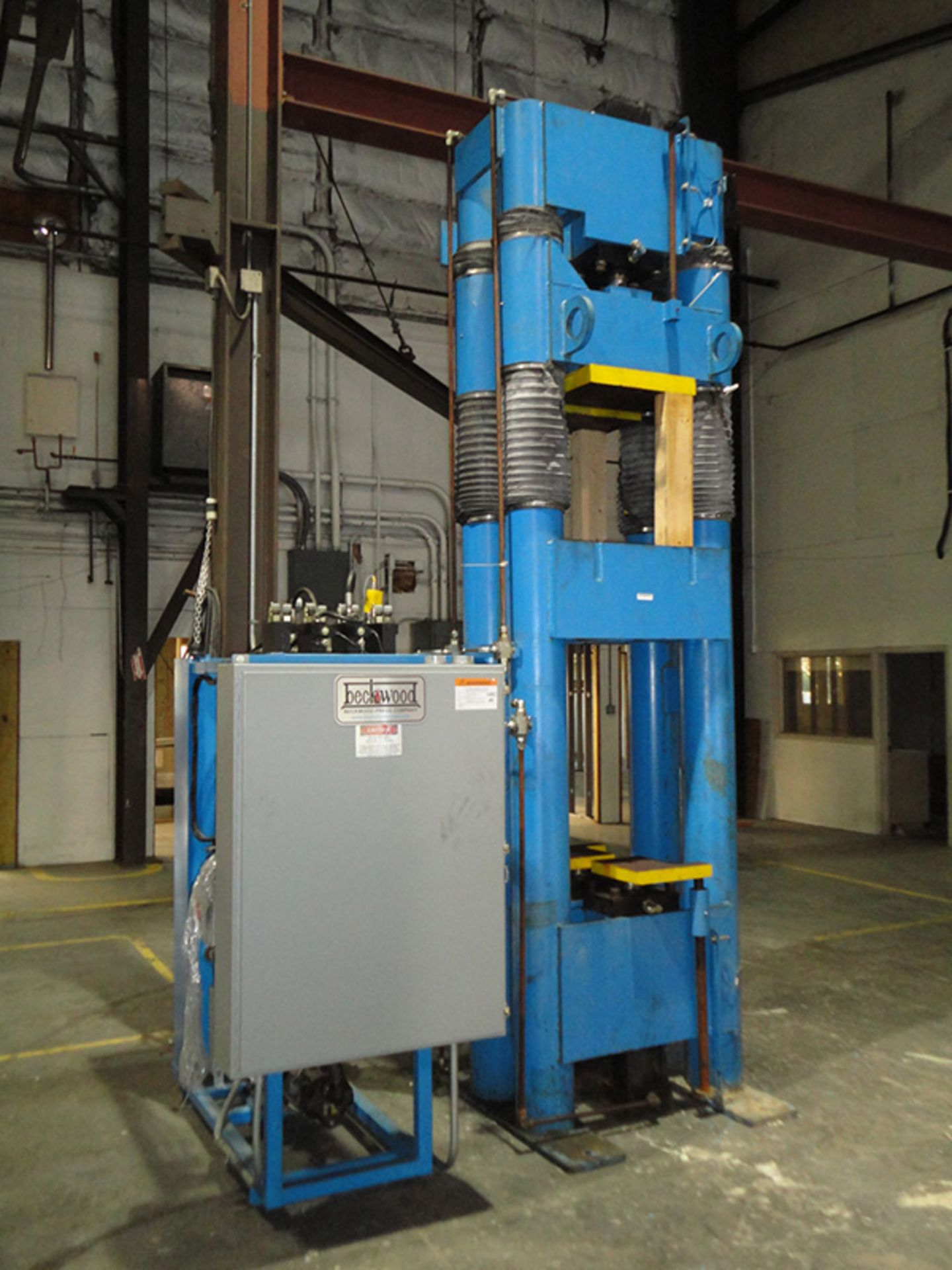 """Lot 24 - 2002 Beckwood Four Post Hydraulic Powder Compaction Press (Up & Down Acting)   110-Ton x 12"""" x 12"""" x"""