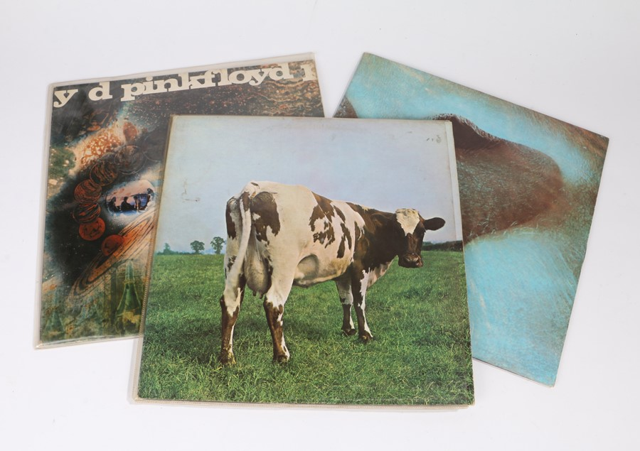 Lot 21 - 3x Pink Floyd LPs - A Saucer Full of Secrets, Atom Heart Mother and meddle (3)