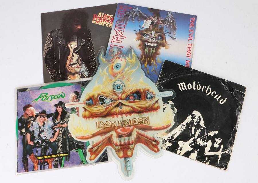 Lot 36 - 5x 1980s Rock/Heavy Metal 7'' Singles. Iron Maiden - The Clairvoyant (shaped picture disc).