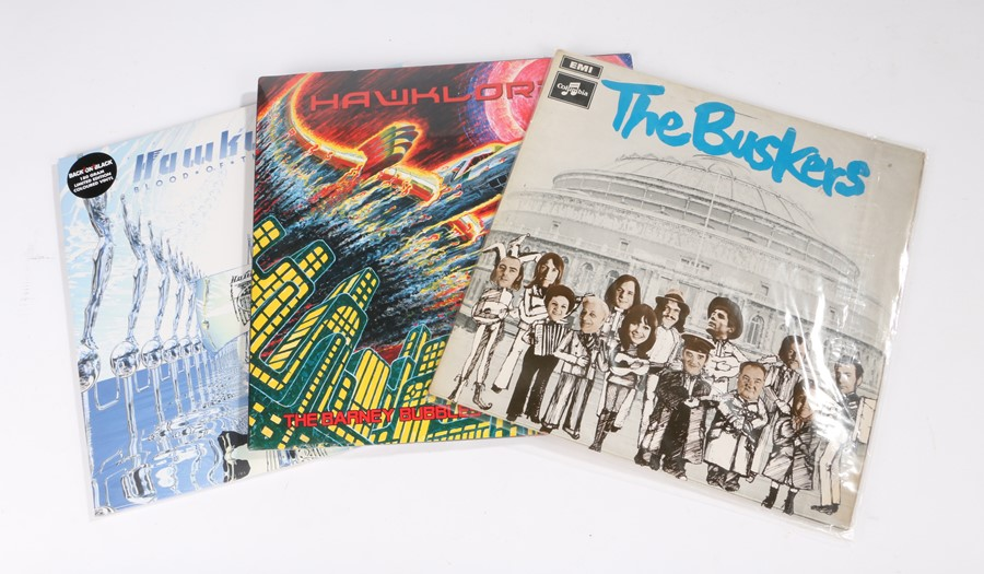 Lot 56 - 3x Hawkwind Related LPs. The Buskers - The Buskers (SCX 6356). Hawklords - The Barney Bubbles