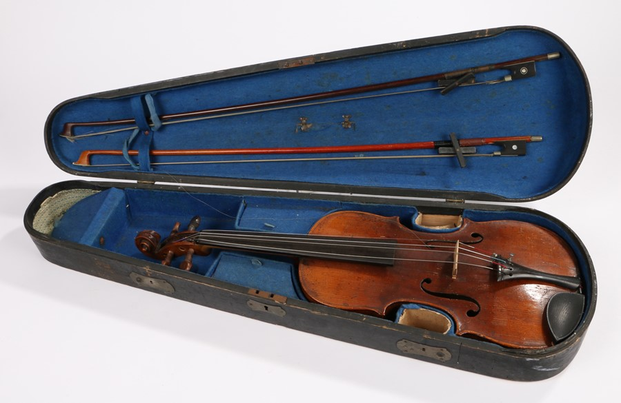 Lot 432 - Violin, signed Hope to the single piece case back, full size, cased with two bows