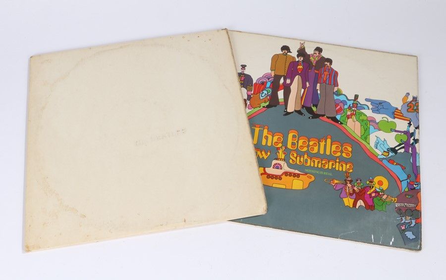 Lot 25 - 2x Beatles LPs - White Album, un-numbered French pressing. Yellow Submarine