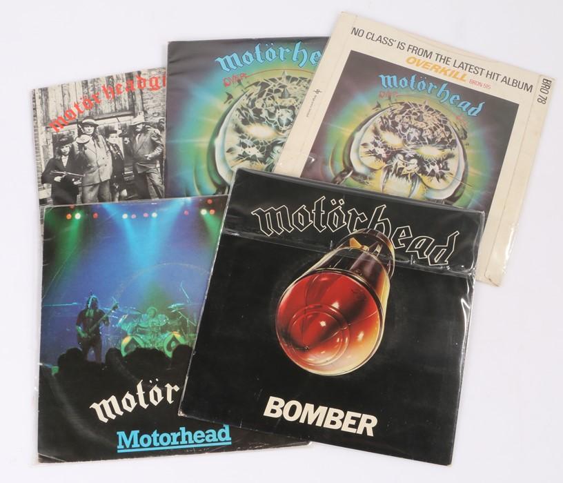 "Lot 55 - 5x Motorhead 7"" Singles - Bomber/Over the Top (BRO 85). Motorhead/Over The Top (BRO 124). No Class/"