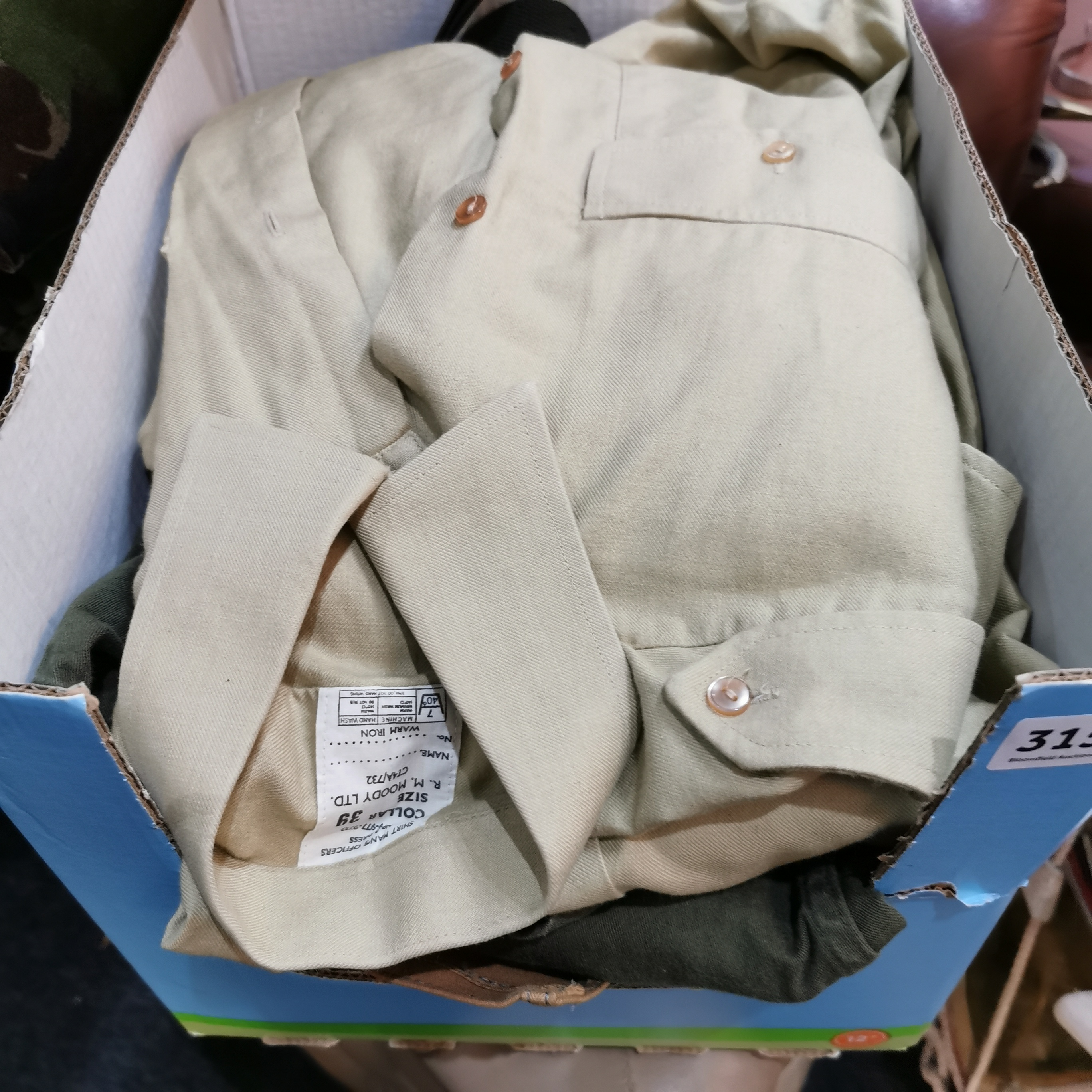Lot 315 - BOX LOT OF MILITARY POUCHES, BELTS & CLOTHING