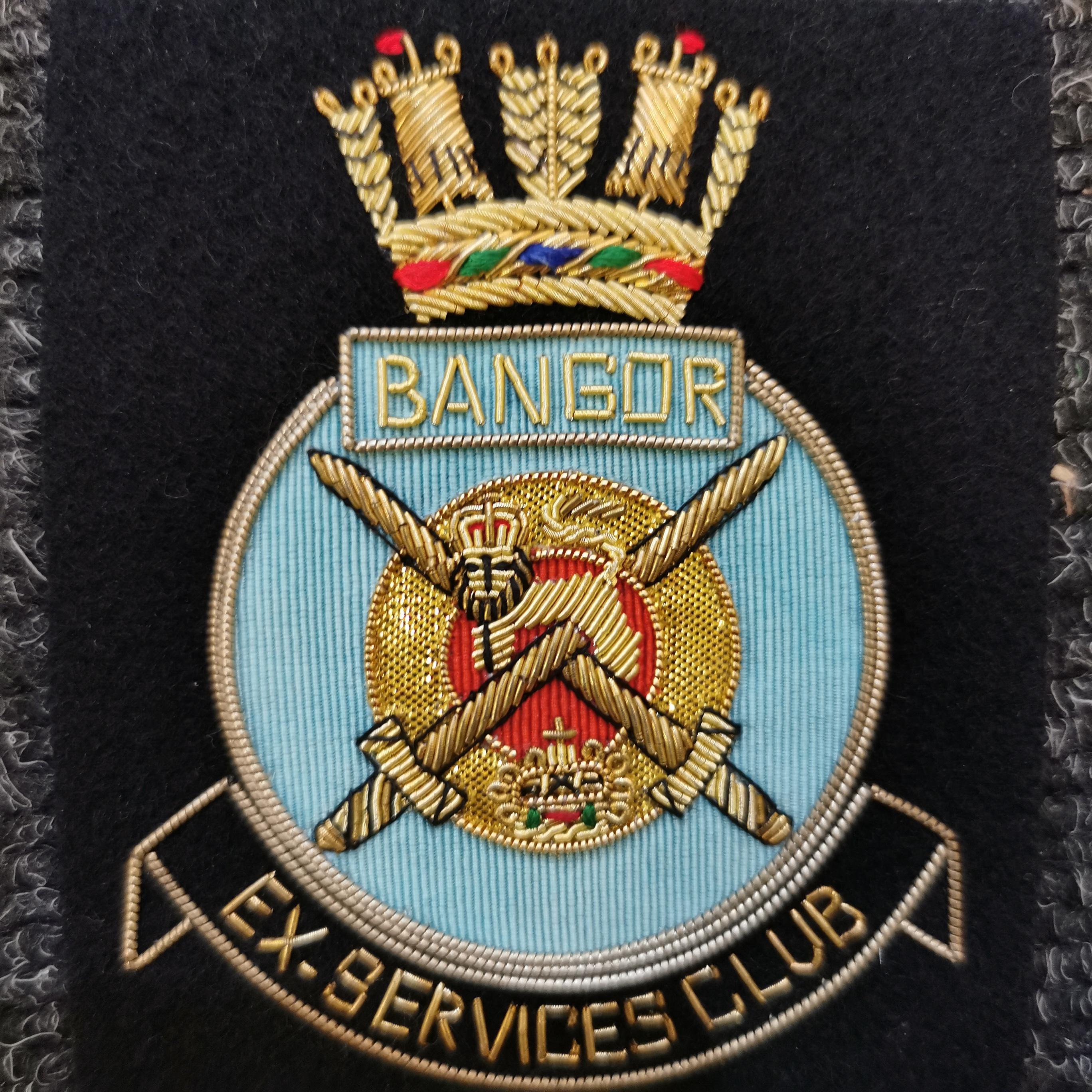 Lot 326 - BULLION BLAZER BADGE - BANGOR EX SERVICEMANS CLUB