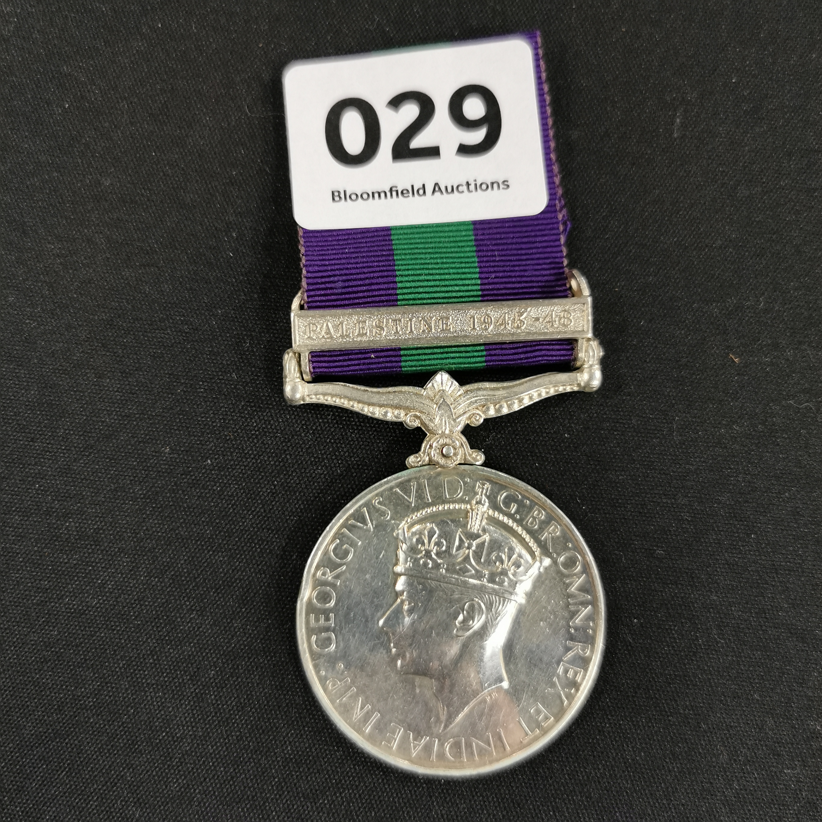 Lot 29 - G.S.M. PALESTINE 1945-1948 ROYAL IRISH FUSILIERS - 19114405 FUS. L EASBY R.I.R.F