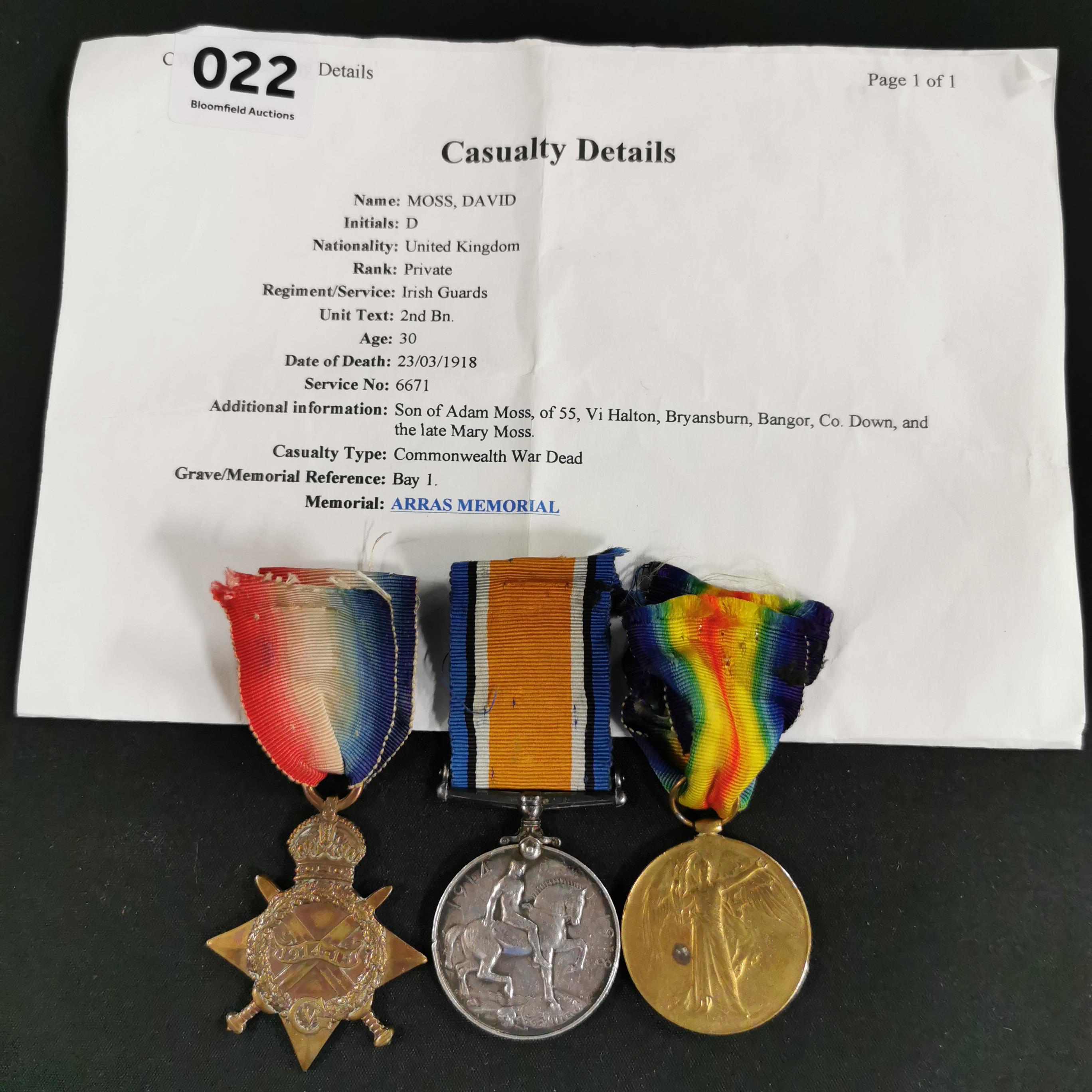 Lot 22 - 1914-15 TRIO TO IRISH GUARDS PRIVATE DAVID MOSS 2ND BTN - DIED 23/03/18 FROM BRYANSBURN BANGOR