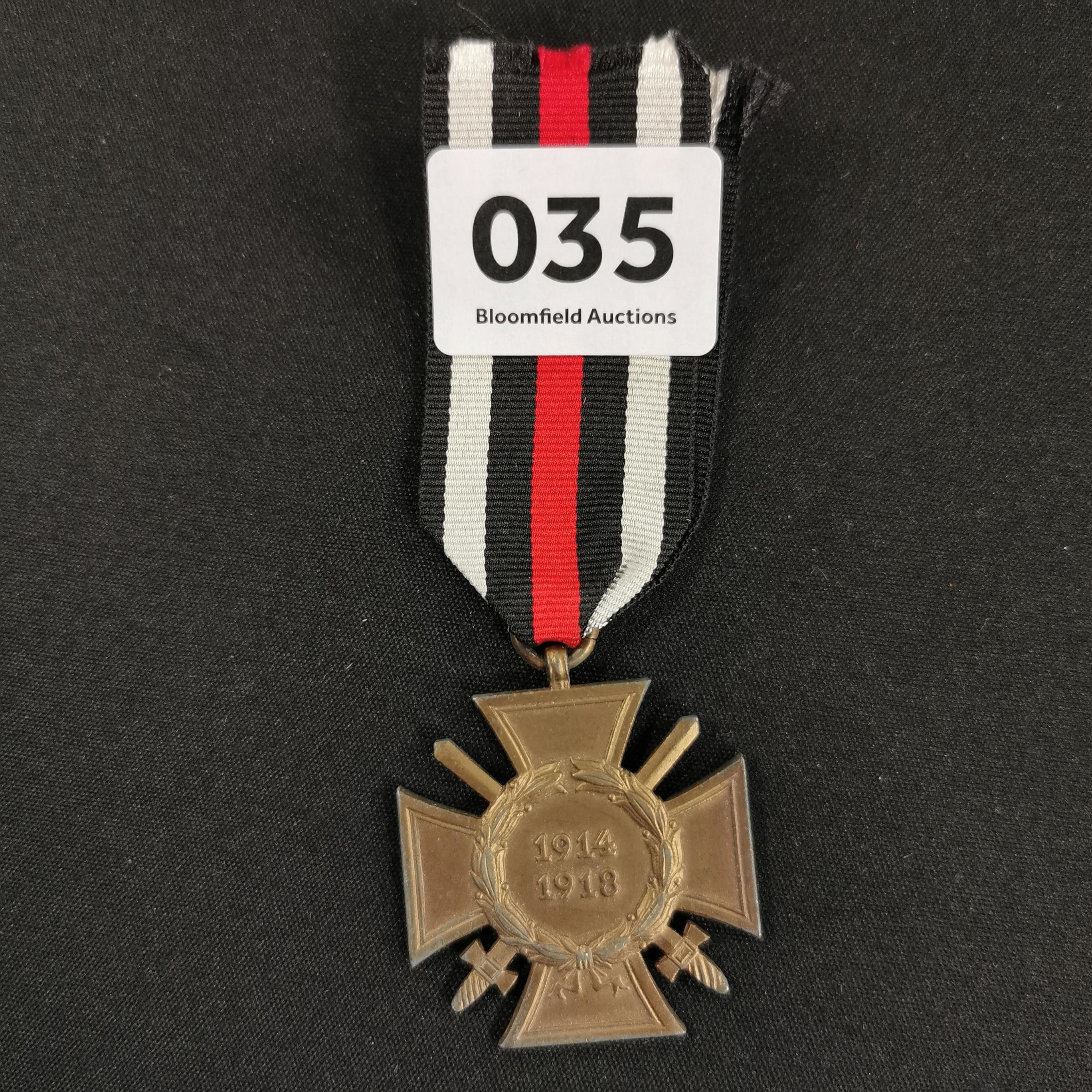 Lot 35 - GERMAN CROSS OF HONOUR COMBATANTES WW1