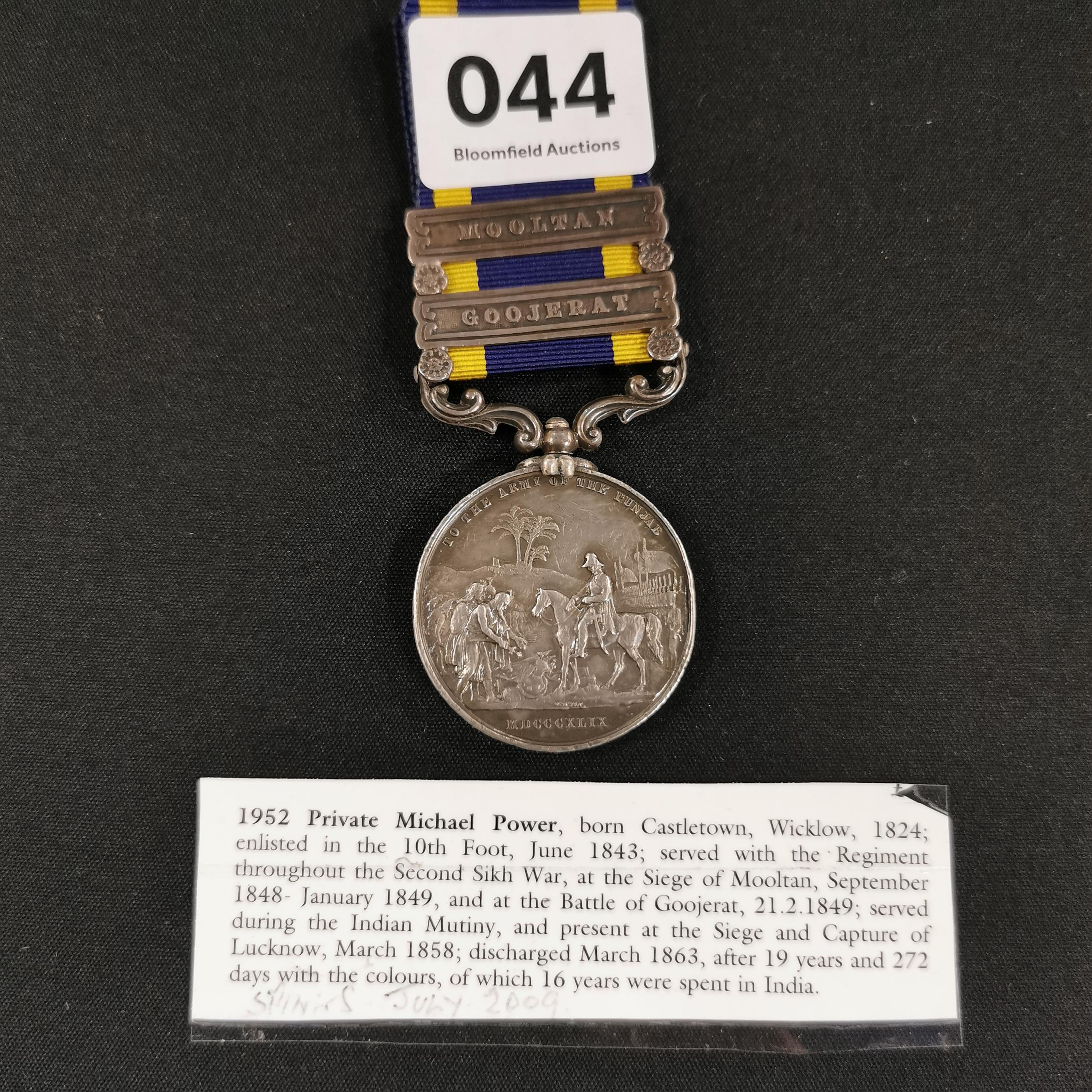 Lot 44 - PUNJAB MEDAL 2 BARS TO THE 10TH FOOT REGT