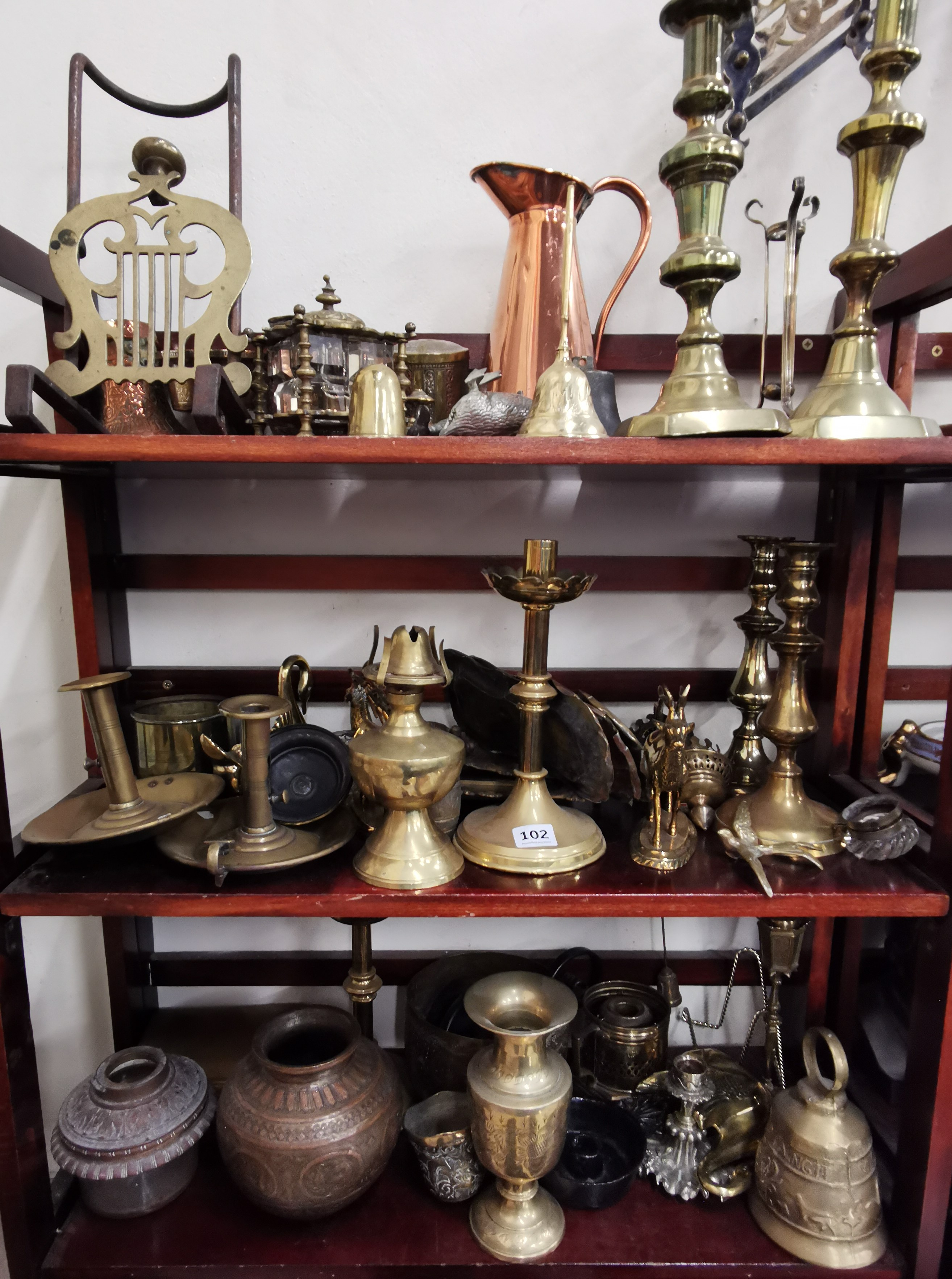 Lot 102 - 3 SHELVES OF BRASS & COPPER