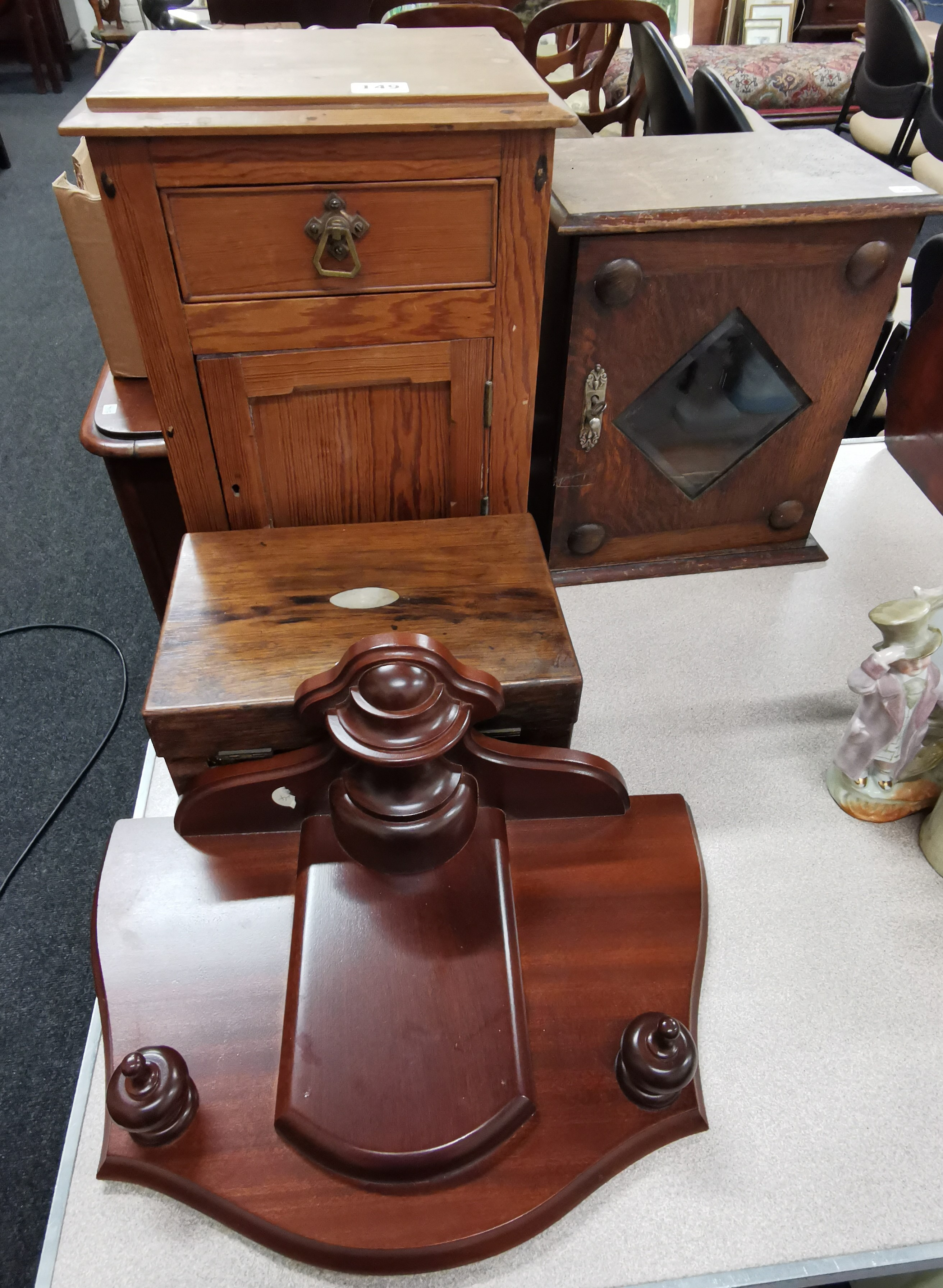 Lot 149 - 2 SMALL ANTIQUE CUPBOARDS, PLINTH & BOX