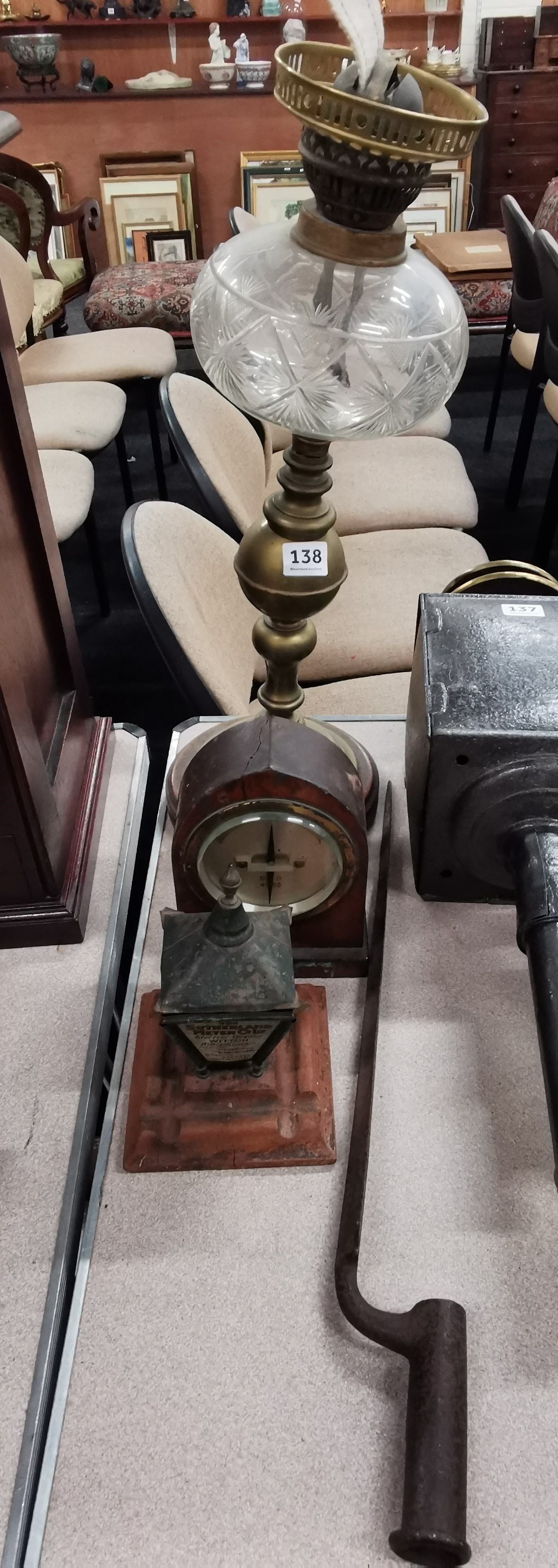 Lot 138 - BAYONET, OIL LAMP, ADVERTISING ASHTRAY & GPO METRE