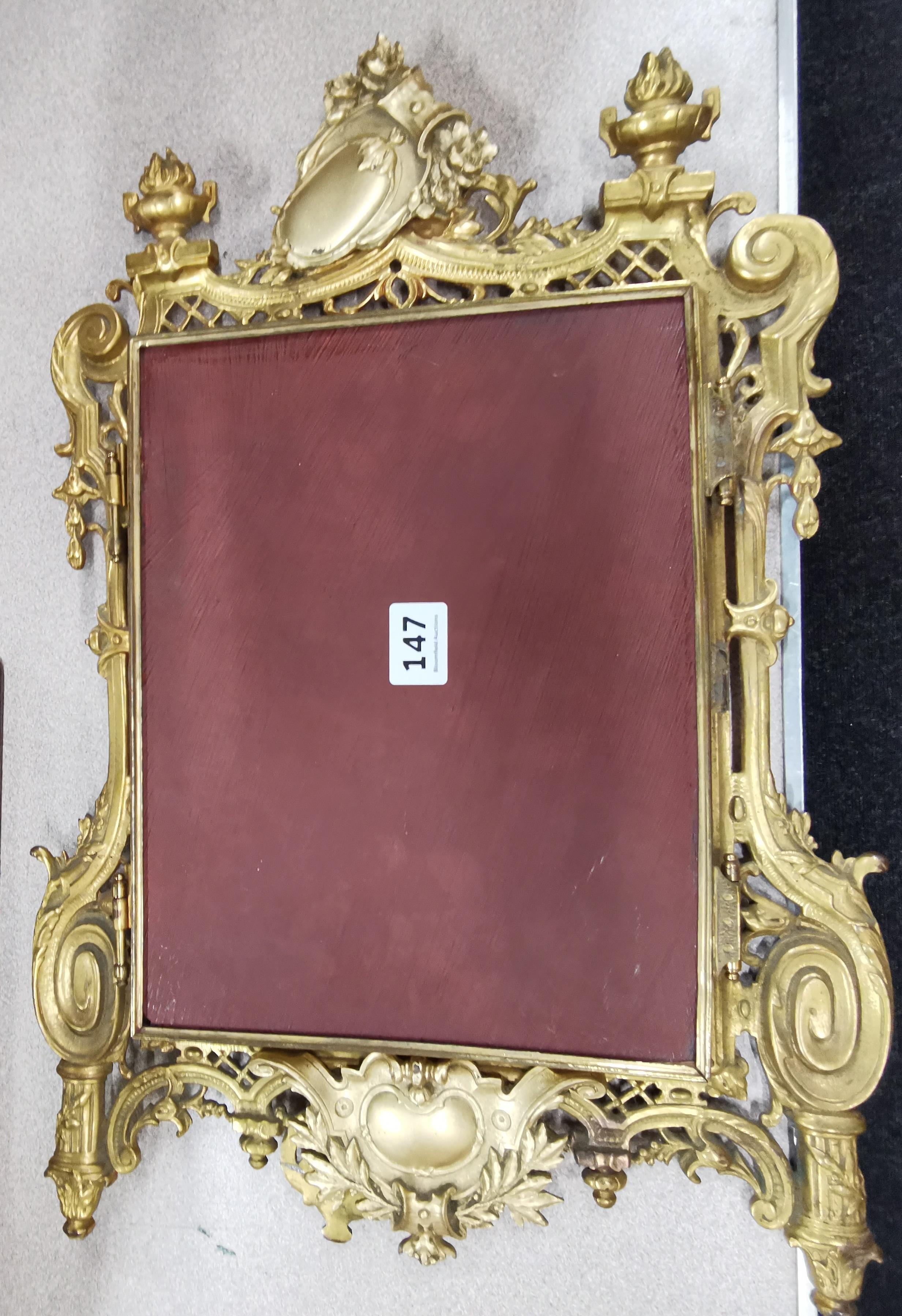 Lot 147 - GILT FRAMED DOUBLE DRESSING TABLE MIRROR