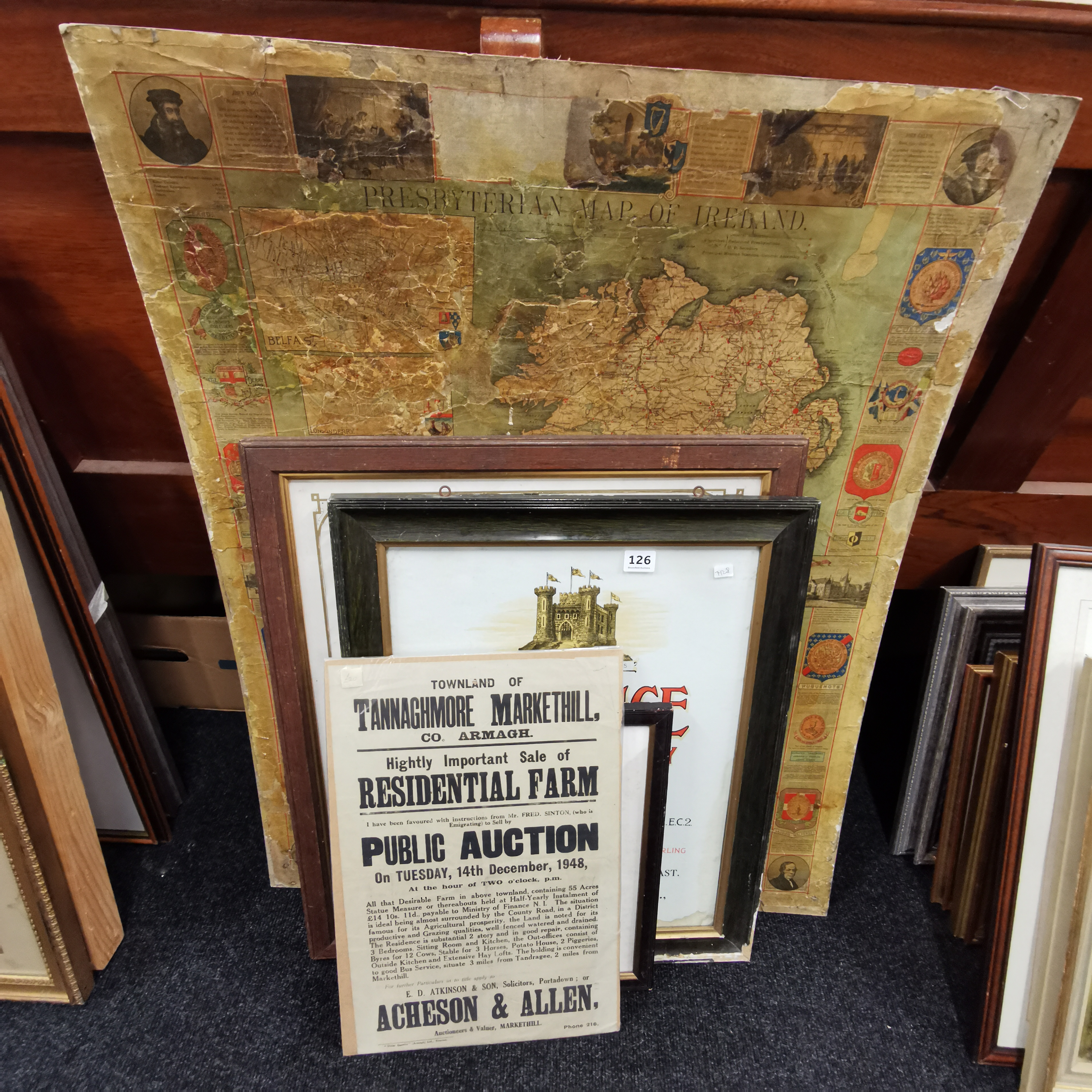 Lot 126 - OLD MAP & 3 FRAMED CERTIFICATES & MARKETHILL PUBLIC AUCTION NOTICE