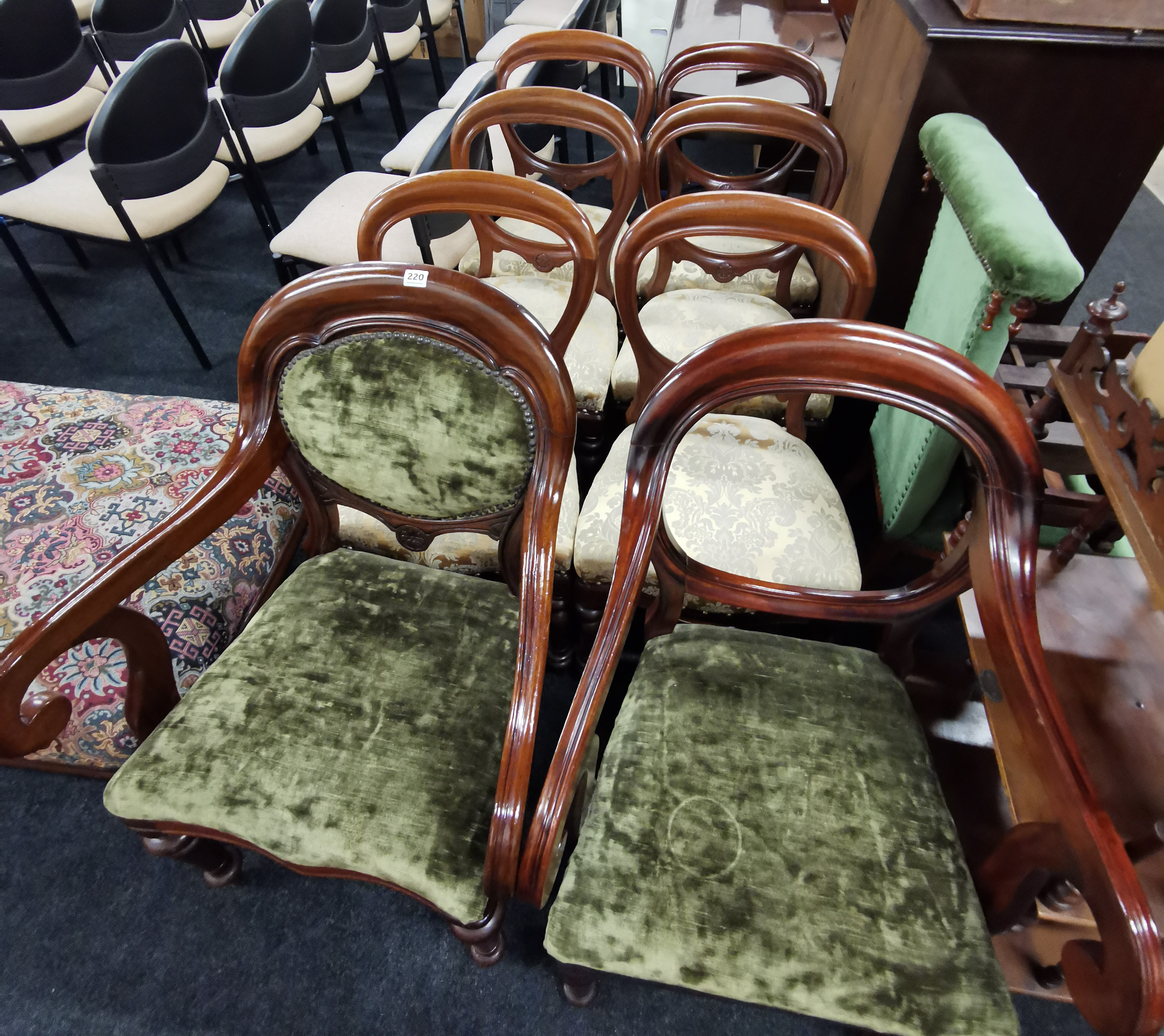 Lot 220 - SET OF 6 VICTORIAN BALLOON BACK CHAIRS & 2 CARVERS