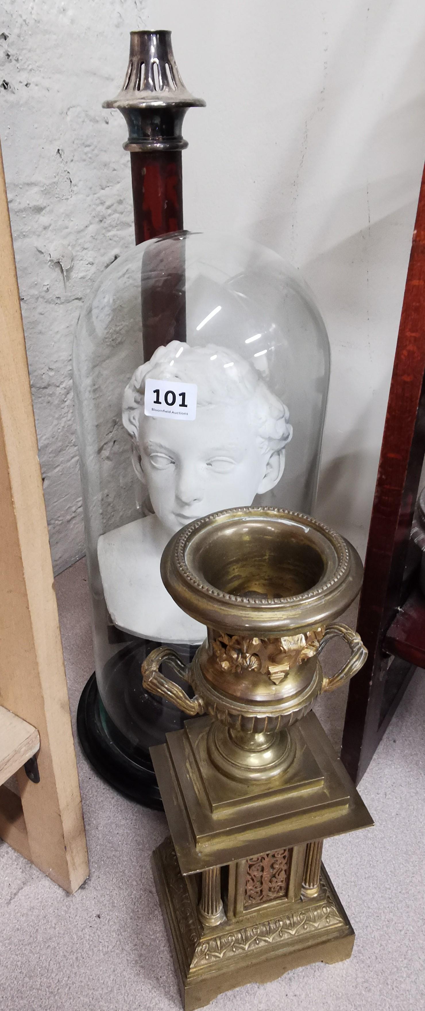 Lot 101 - BUST OF BOY UNDER GLASS, BRASS URN & CHURCH CANDLESTICK