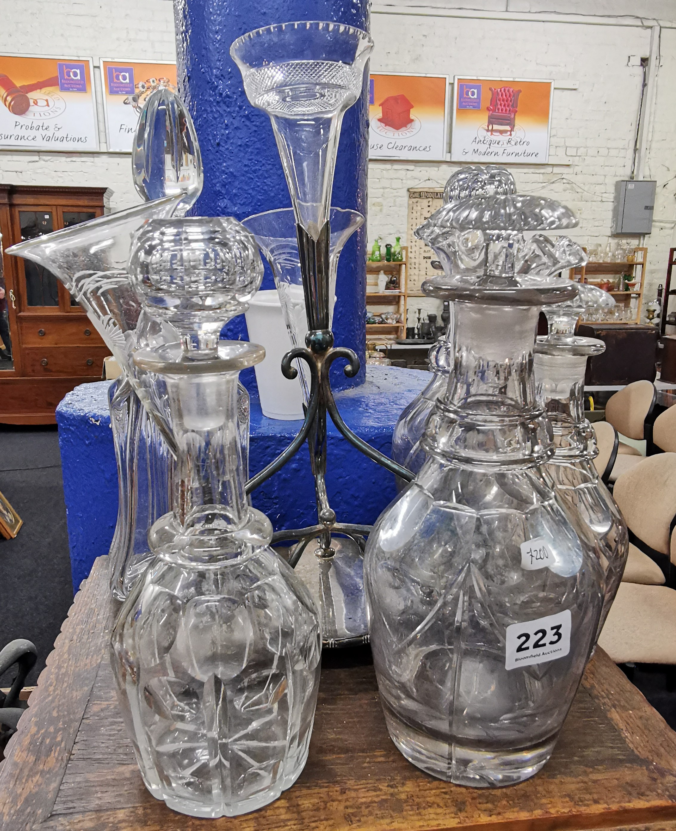 Lot 223 - QUANTITY OF OLD DECANTERS & EPERGNE